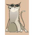 cartoon unhappy funny cat wearing glasses vector image vector image