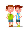 characters boy and girl with syndrome down vector image vector image