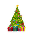 christmas tree with gift boxes and ornaments vector image