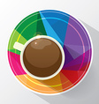 coffee cup in modern multicolor polygonal low poly vector image vector image