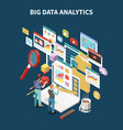 colored big data analytics isometric composition vector image vector image