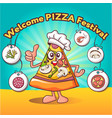 comic slice pizza festival concept background vector image