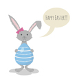 Cute Grey Easter Bunny holding Blue Easter Egg vector image vector image