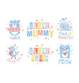 cute hand drawn decor elements with lettering vector image
