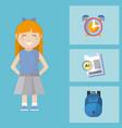 cute school girl with utensils vector image vector image
