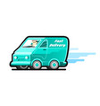 fast delivery van with motion lines the driver of vector image