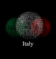 flag of italy in a round abstraction over black vector image