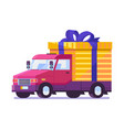 flat delivery car with gift box package vector image vector image