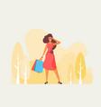 flat fashion shopping girl vector image vector image