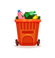 flat icon of garbage bin with plastic waste vector image