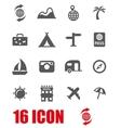 grey travel icon set vector image
