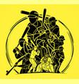group baseball players action cartoon sport vector image