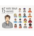 Hand drawn avatars set of different characters vector image vector image
