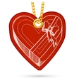 Heart shaped present box Label tag hanging on vector image vector image