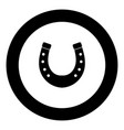 horseshoe icon black color in circle vector image vector image