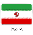 Iran flag doodle vector image