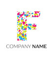 letter f logo with blue yellow red particles vector image