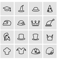 line helmet and hat icon set vector image vector image