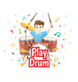 little boy playing drums vector image vector image
