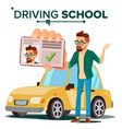 man in driving school training car vector image vector image