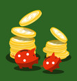 money piggy banks and dollar coins on green vector image