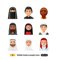 muslim arab people avatars characters icons set vector image