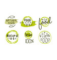 natural organic food green labels templates set vector image vector image