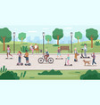 people in public park eco city transport vector image vector image