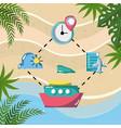 plane boat clock location pin tracking tourist vector image
