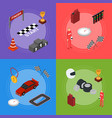 racing sport banner card set isometric view vector image vector image