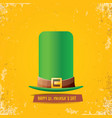 saint patricks day label with green hat and vector image