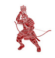 samurai warrior with bow action japanese fighter vector image vector image