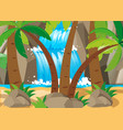 scene with waterfall and tree vector image vector image