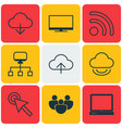 set of 9 internet icons includes team cursor tap vector image vector image