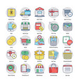 shopping and ecommerce flat set vector image vector image