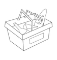 Shopping basket full of groceries icon in outline vector image