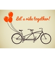 Tandem bicycle with balloons vector image vector image