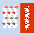 white bird holding red flower decorative design vector image vector image