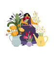 woman with flowers flower girl gardener or plant vector image vector image