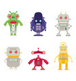 flat robot set isolated on white background vector image