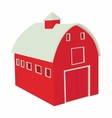 Wooden red barn icon in cartoon style vector image