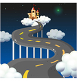 A curve road going to the castle vector image vector image