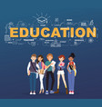 a group of student with education design vector image