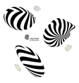 A set of different 3d striped geometric figures