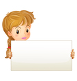 A teenage girl holding an empty signage vector image vector image