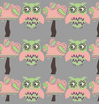adorable owls abstract background with trees vector image vector image