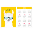 alpaca llama in glassess simple pocket calendar vector image
