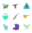 Angling icons set cartoon style vector image vector image