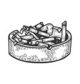 ashtray with cigarette butts sketch vector image