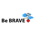 banner with heart flies parachute from blue vector image vector image